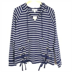 Michael Kors Navy White Striped Terry Hoodie NWT